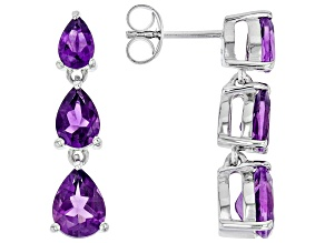 Purple African Amethyst Rhodium Over Sterling Silver Dangle Earrings 3.30ctw