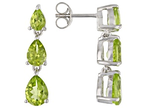 Green Peridot Rhodium Over Sterling Silver Dangle Earrings 4.13ctw