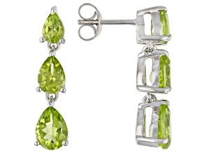 Green Peridot Rhodium Over Sterling Silver Dangle Earrings 4.13ctw