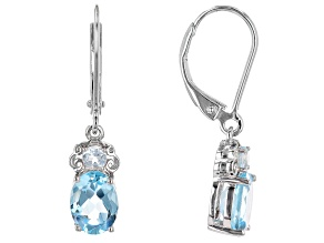 Blue Topaz Rhodium Over Sterling Silver Dangle Earrings 2.82ctw