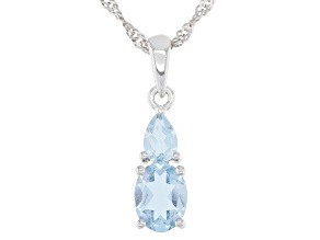 Sky Blue Topaz Rhodium Over Sterling Silver Pendant With Chain 1.79ctw