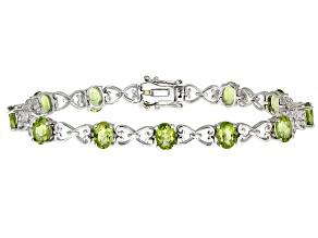 Green Peridot Rhodium Over Sterling Silver Bracelet 9.39ctw