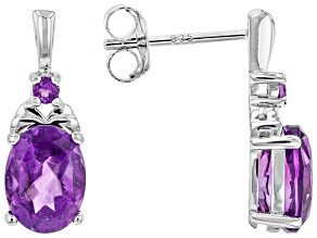 Purple African Amethyst Rhodium Over Sterling Silver Drop Earrings 1.89ctw
