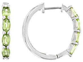 Green Peridot Rhodium Over Sterling Silver Hoop Earrings 1.56ctw