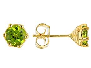 Green Peridot 18K Yellow Gold Over Sterling Silver Stud Earrings 1.50ctw