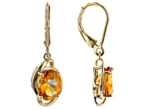 Yellow Citrine 18K Yellow Gold Over Sterling Silver Dangle Earrings 2.89ctw