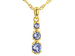 "Blue Tanzanite 3-Stone Graduated 18k Yellow Gold Over Silver Pendant & 18"" Singapore Chain 0.83ctw"