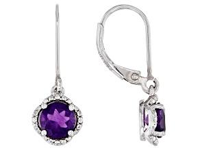 Purple African Amethyst Rhodium Over Sterling Silver Dangle Earrings 1.62ctw