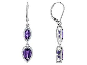 Purple African Amethyst Rhodium Over Sterling Silver Dangle Earrings 2.87ctw