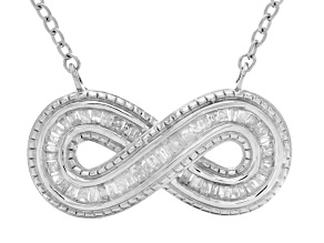 White Diamond Rhodium Over Sterling Silver Necklace .50ctw