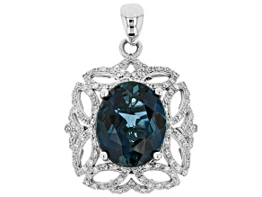 White Diamond And London Blue Topaz 14k White Gold Pendant 6.17ctw