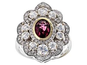 Lab Created Strontium Titanate, Grape Rhodolite And White Diamond 14k White Gold Ring 4.28ctw