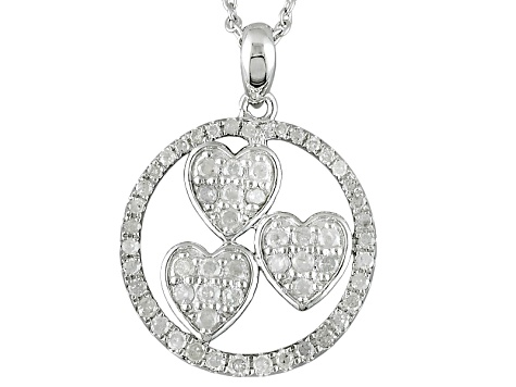 Diamond Rhodium Over Sterling Silver Pendant .59ctw