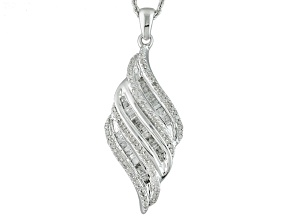 Diamond Rhodium Over Sterling Silver Cluster Pendant .50ctw