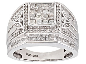 Diamond Rhodium Over Sterling Silver Ring 1.10ctw