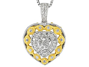 White Diamond Rhodium And 14k Yellow Gold Over Sterling Silver Pendant .20ctw