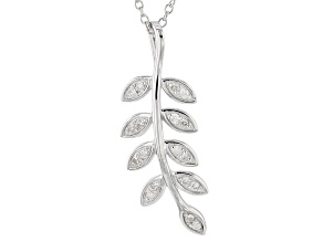 White Diamond Rhodium Over Sterling Silver Pendant .15ctw