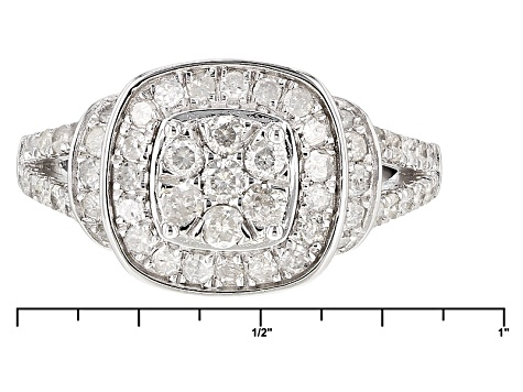 White Diamond Rhodium Over Sterling Silver Ring .97ctw