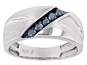Blue Diamond Rhodium Over Sterling Silver Mens Band Ring .25ctw