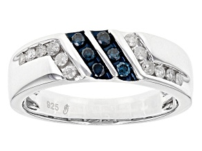 Blue And White Diamond Rhodium Over Sterling Silver Gents Ring .50ctw