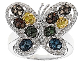 Blue, Yellow, Red, Green, Champagne And White Diamond Rhodium Over Sterling Silver Ring .85ctw