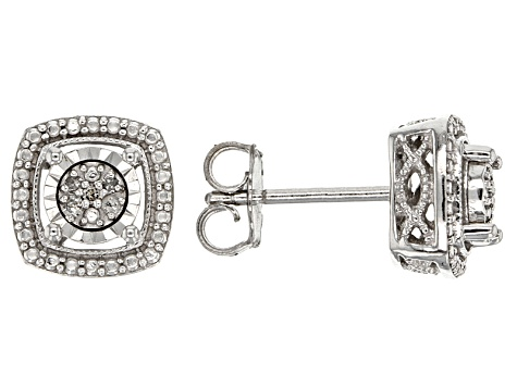 White Diamond Accent Rhodium Over Sterling Silver Earrings