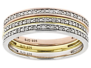 White Diamond Rhodium And 14k Yellow And Rose Gold Over Sterling Silver Rings