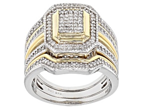 White Diamond Rhodium And 14k Yellow Gold Over Sterling Silver Ring With 2 Matching Bands .45ctw