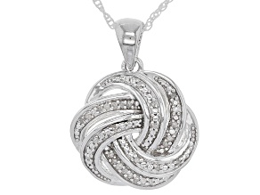 White Diamond Rhodium Over Sterling Silver Pendant .10ctw