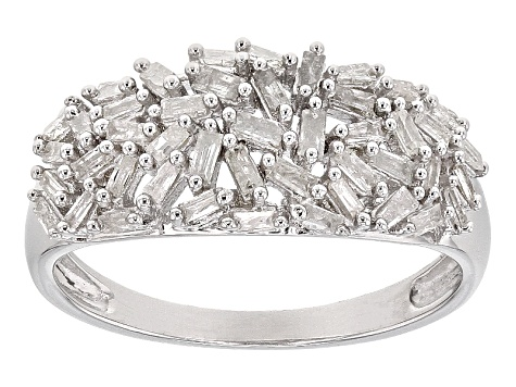 White Diamond Rhodium Over Sterling Silver Ring .56ctw