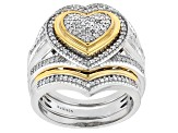 White Diamond 14k Yellow Gold And Rhodium Over Sterling Silver Ring With Two Matching Bands .45ctw