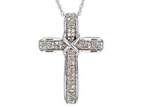 White Diamond Rhodium Over Sterling Silver Pendant .15ctw
