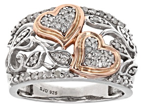 White Diamond 14k Rose Gold And Rhodium Over Sterling Silver Ring .30ctw