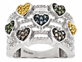 Yellow,Green,Blue,Champagne And White Diamond Rhodium Over Sterling Silver Ring .50ctw