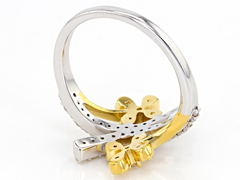 White Diamond Rhodium And 14k Yellow Gold Over Sterling Silver Ring .40ctw