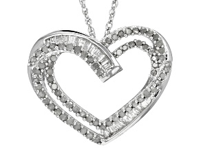 White Diamond Rhodium Over Sterling Silver Pendant .56ctw