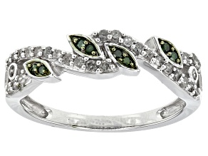 Green And White Diamond Rhodium Over Sterling Silver Ring .31ctw