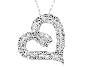 "White Diamond Rhodium Over Sterling Silver Pendant With 18"" Rope Chain 0.70ctw"
