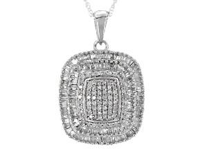 White Diamond Rhodium Over Sterling Silver Pendant .85ctw