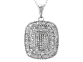 White Diamond Rhodium Over Sterling Silver Pendant .85ctw