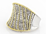 White Diamond 14k Yellow Gold And Rhodium Over Sterling Silver Ring .95ctw