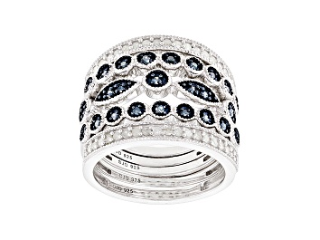 Picture of Blue And White Diamond Rhodium Over Sterling Silver Set Of 5 Stackable Rings .60ctw