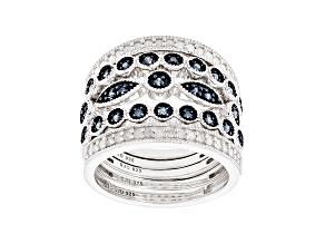 Blue And White Diamond Rhodium Over Sterling Silver Stackable Rings .60ctw