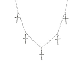 White Diamond Rhodium Over Sterling Silver Necklace .25ctw