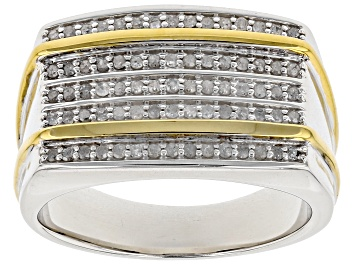 Picture of White Diamond Rhodium And 14k Yellow Gold Over Sterling Silver Mens Ring .50ctw