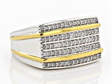 White Diamond Rhodium And 14k Yellow Gold Over Sterling Silver Mens Ring .50ctw