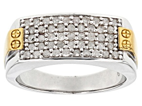 White Diamond 14k Yellow Gold And Rhodium Over Sterling Silver Gents Ring .75ctw
