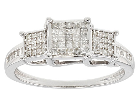White Diamond Rhodium Over Sterling Silver Ring .38ctw