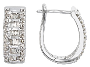 White Diamond Rhodium Over Sterling Silver Earrings .50ctw