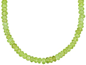 Approximately 72ctw Faceted Green Peridot .925 Sterling Silver Bead Necklace
